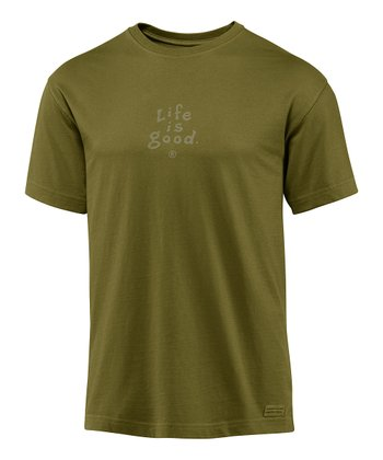 Simply Dark Green 'Life Is Good' Crusher Short-Sleeve Tee - Men