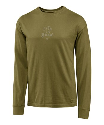 Simply Dark Green 'Life Is Good' Crusher Long-Sleeve Tee - Men