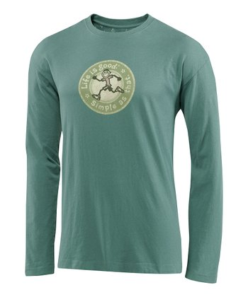 Light Spruce Green Heritage Running Creamy Long-Sleeve Tee - Men