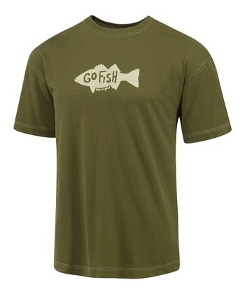Simply Dark Green Silo Go Fish Creamy Tee - Men