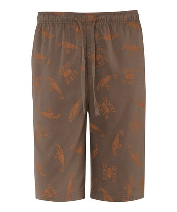 Dark Brown Fishing Lure Pajama Shorts - Men