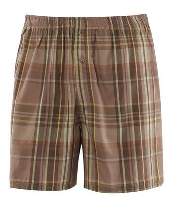 Simply Light Brown Plaid Boxers - Men