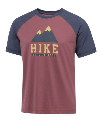 Burgundy Hike Iconic Raglan Tee - Men