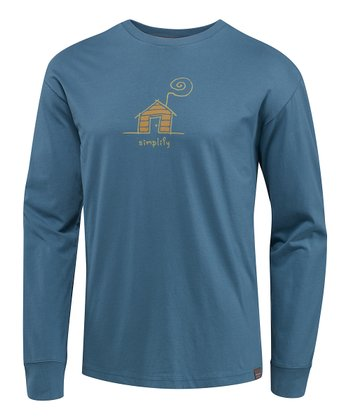 Hazy Blue Cabin Simplify Organic Long-Sleeve Tee - Men