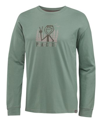Pine Green Peace Out Organic Long-Sleeve Tee - Men
