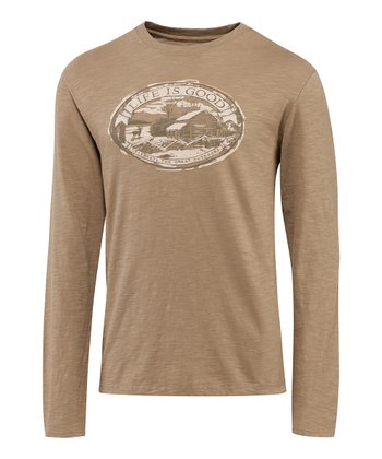 Simply Light Brown Cabin Folklore Organic Long-Sleeve Tee - Men