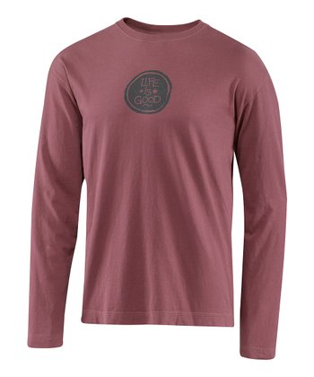Burgundy Coin Fundamental Creamy Long-Sleeve Tee - Men