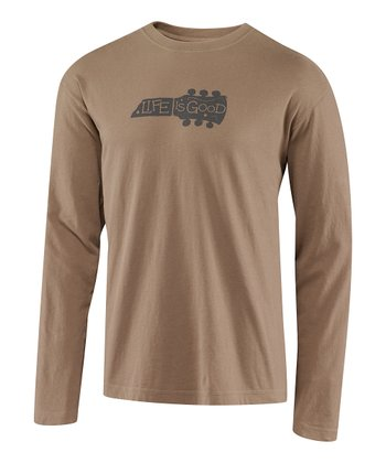 Simply Light Brown Guitar Fundamental Creamy Long-Sleeve Tee - Me