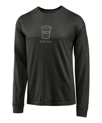 Dark Gray 'Half Full' Crusher Long-Sleeve Tee - Men
