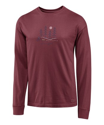 Burgundy Moonlight Woods Crusher Long-Sleeve Tee - Men