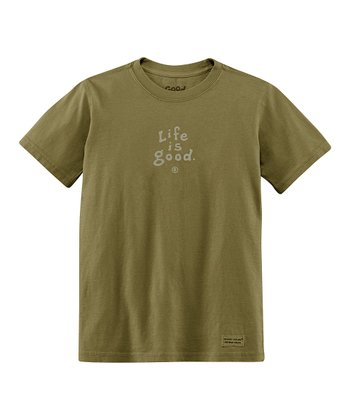 Dark Green 'Life Is Good' Short-Sleeve Crusher Tee - Boys