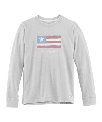 Light Gray Flag Long-Sleeve Crusher Tee - Boys