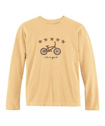 Classic Gold Astro Bike Long-Sleeve Creamy Tee - Boys