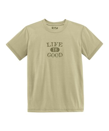 Light Green 'Life Is Good' Short-Sleeve Tee - Toddler & Boys