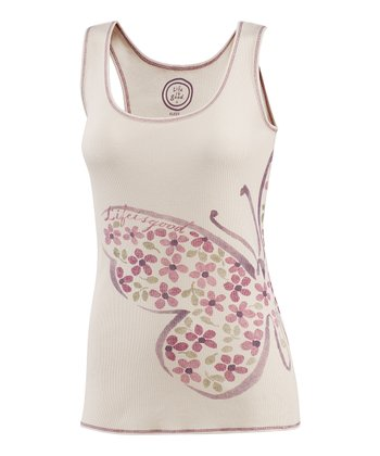 Pale Cream Thank Joyful Butterfly Racerback Tank - Women