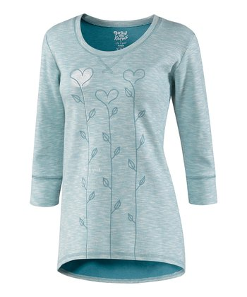 Simple Dusty Blue Heart Long Stem Elliptical Organic Top - Women