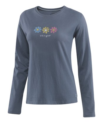 True Blue Three Elemental Daisy Crusher Long-Sleeve Tee - Women