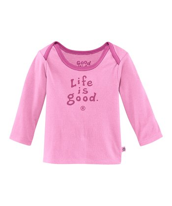 Peony Pink 'Life Is Good' Lap Neck Tee - Infant