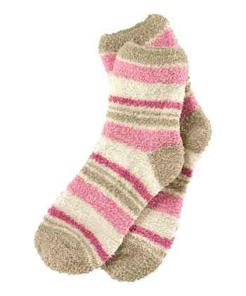 Pale Moss Stripe Snuggle Socks - Women