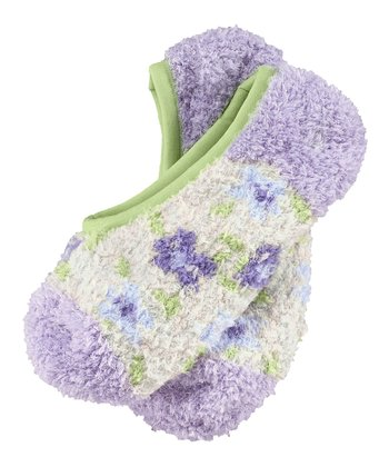 Pale Lavender Flower Snuggle Footsies Socks - Women