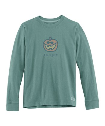Pine Green Jake-O-Lantern Long-Sleeve Crusher Tee - Boys
