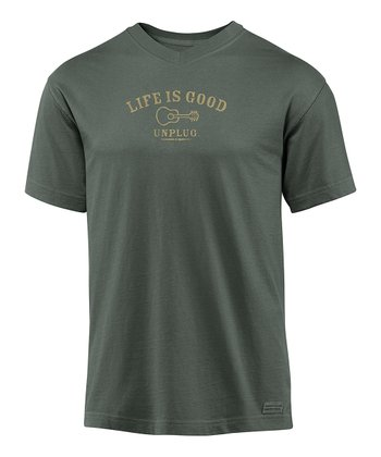 Dark Gray 'Unplug' Crusher Tee - Men