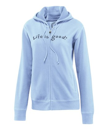 Sky 'Life Is Good' Softwash Zip-Up Hoodie - Women