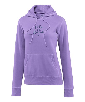 Soft Purple 'Life Is Good' Softwash Hoodie - Women