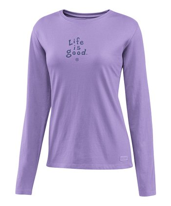 Soft Purple 'Life Is Good' Crusher Long-Sleeve Tee - Women