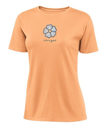 Tangerine Orange Hibiscus Crusher Tee - Women