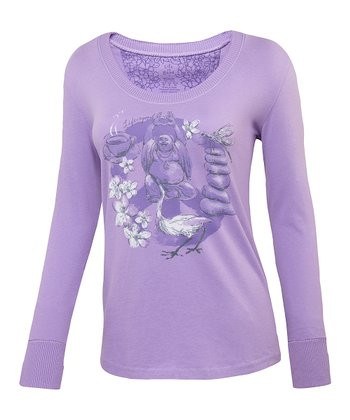 Soft Purple Peace Creamy Long-Sleeve Tee - Women