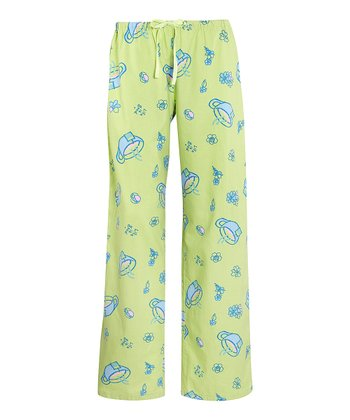 Citron Green Teacup Pajama Pants - Women