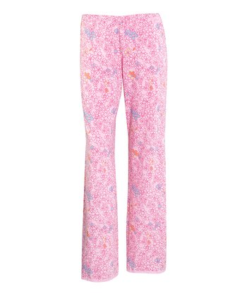 Petal Pink Floral Lace-Trim Pajama Pants - Women