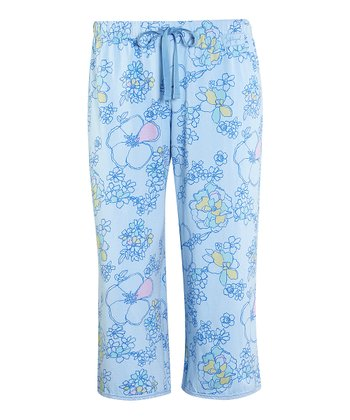 Sky Floral Lace-Trim Cropped Pajama Pants - Women