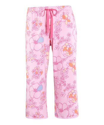 Petal Pink Floral Lace-Trim Cropped Pajama Pants - Women