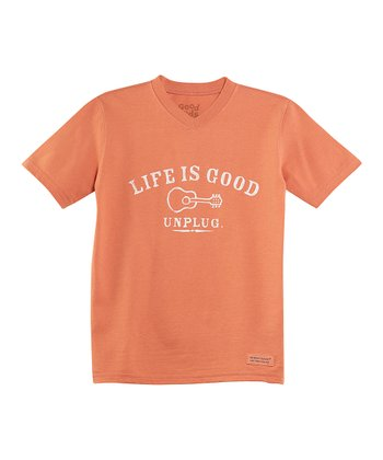 Sunset Orange 'Unplug' V-Neck Crusher Tee - Boys