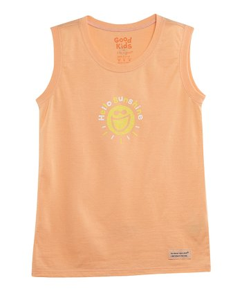 Tangerine 'Hello Sunshine' Sleeveless Crusher Tee - Toddler & Girls