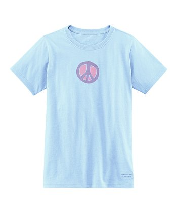 Sky Blue Peace Sign Crusher Tee - Girls
