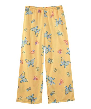 Sunny Yellow Tossed Butterflies Pajama Bottoms - Girls