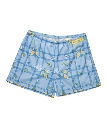 Sky Blue Plaid Butterfly Boxer Shorts - Girls