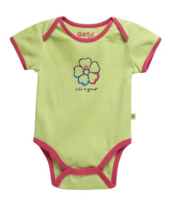 Citron Green Hibiscus Ringer Bodysuit - Infant