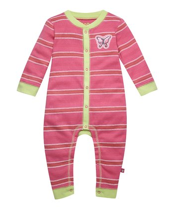 Hot Pink Butterfly Stripe Playsuit - Infant