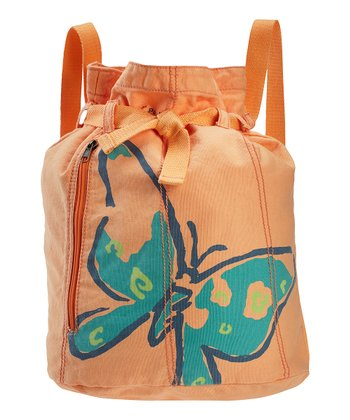 Tangerine Orange Butterfly Barrel Cinch Bag