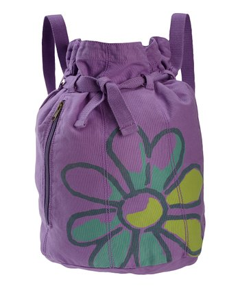 Soft Purple Daisy Barrel Cinch Bag