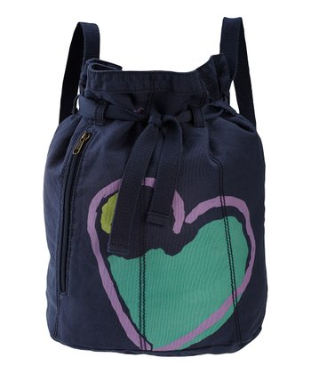 True Blue Heart Barrel Cinch Bag