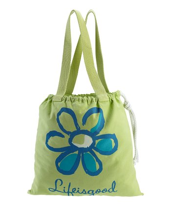 Apple Green Daisy Drawstring Tote
