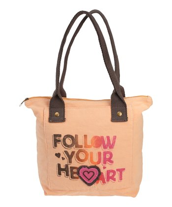 Tangerine 'Follow Your Heart' Pocket Tote