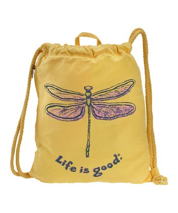 Yellow Dragonfly Ropestring Backpack