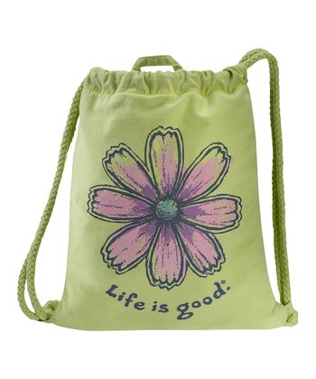 Citron Green Flower Ropestring Backpack