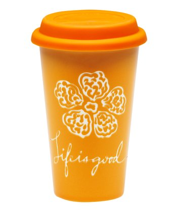 Tangerine Orange Flower 9-Oz. Ceramic Tumbler